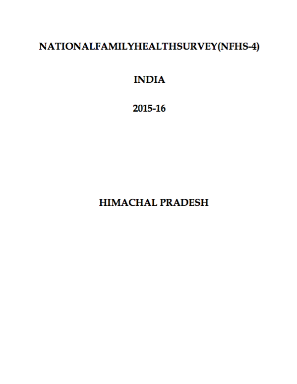 National Family Health Survey (NFHS-4) 2015-16: Himachal Pradesh