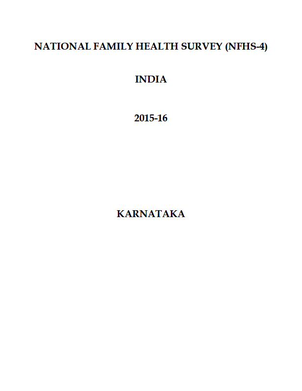 National Family Health Survey (NFHS-4) 2015-16: Karnataka