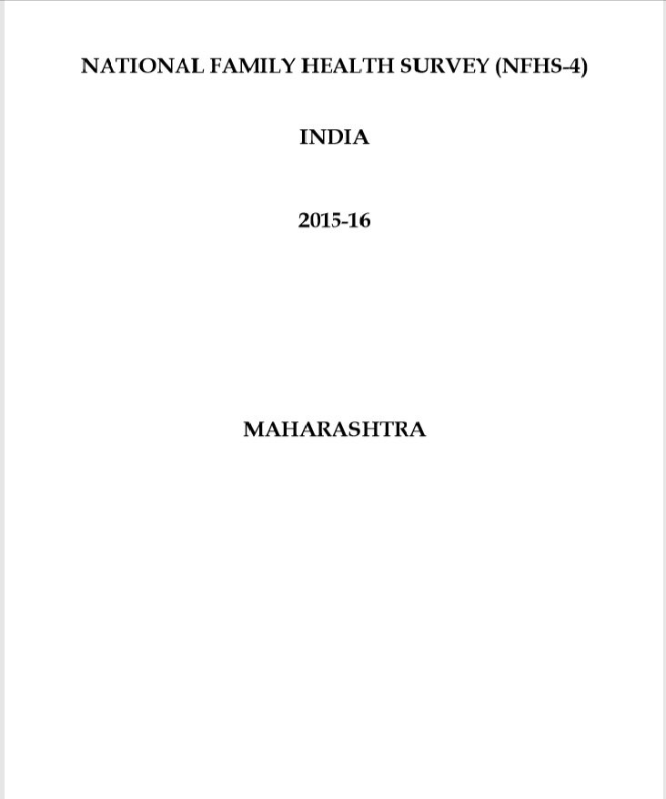 National Family Health Survey (NFHS-4) 2015-16 Maharashtra