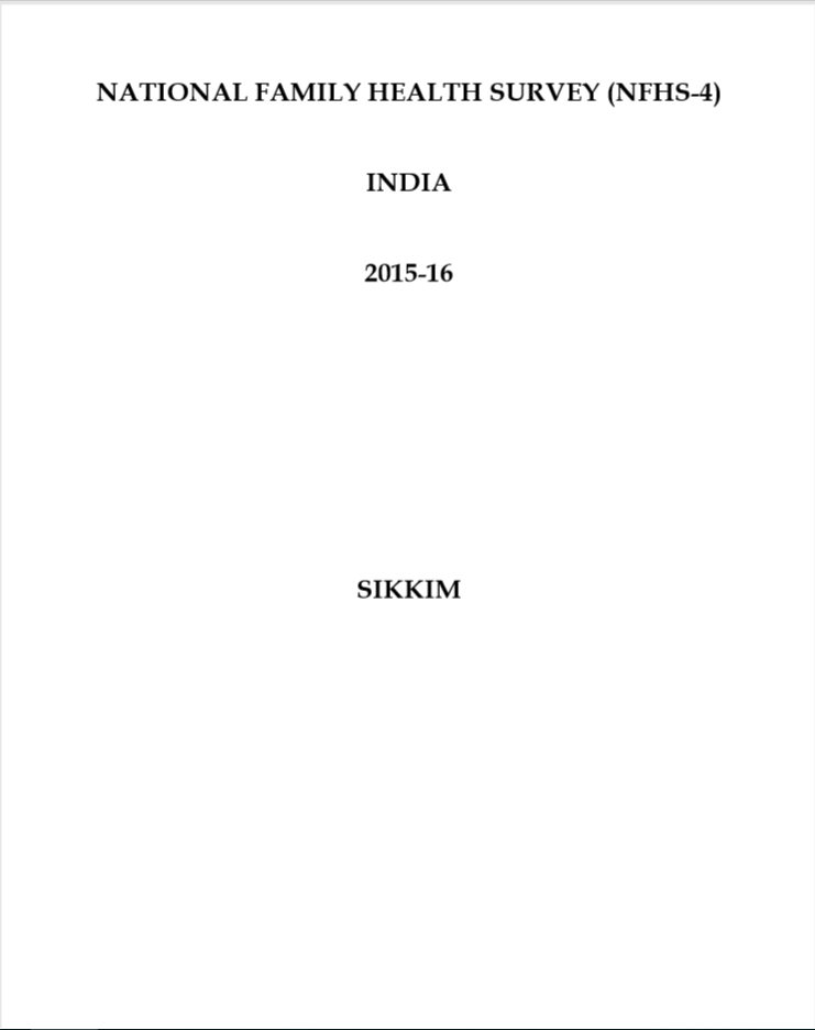 National Family Health Survey (NFHS-4) 2015-16: Sikkim