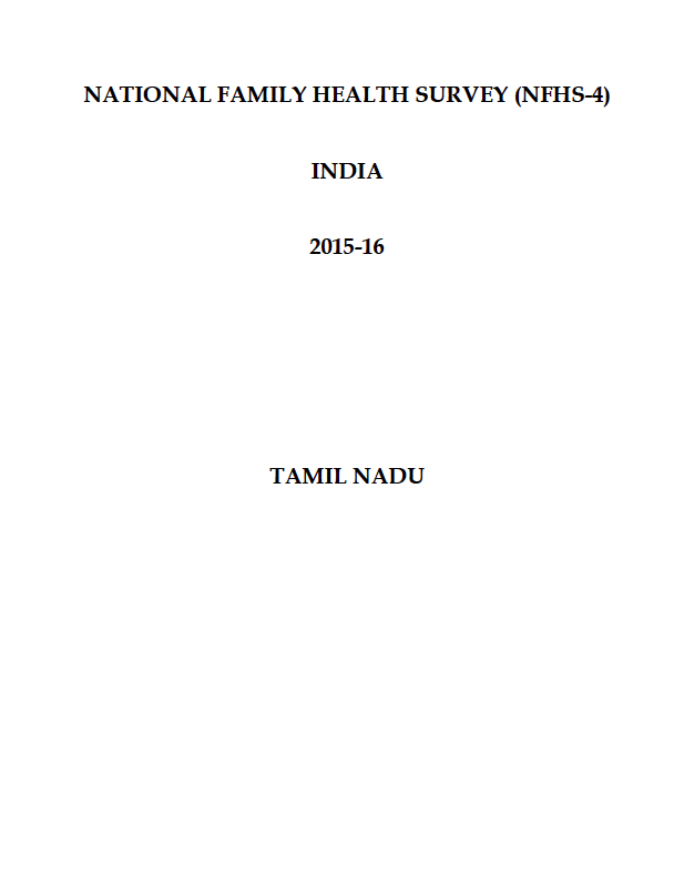 National Family Health Survey (NFHS-4) 2015-16: Tamil Nadu