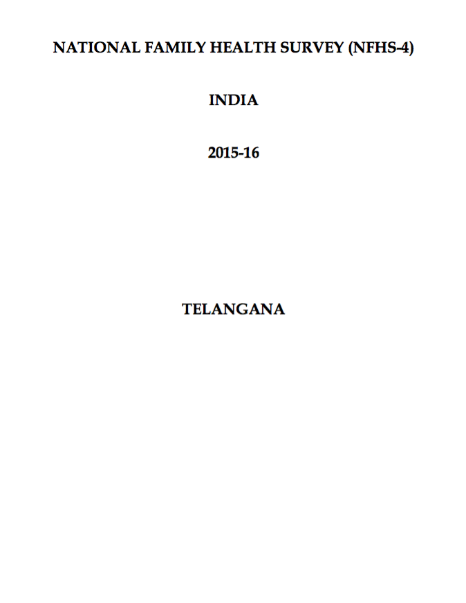 National Family Health Survey (NFHS-4) 2015-16: Telangana