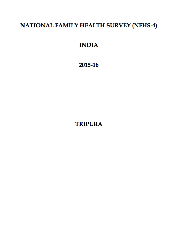 National Family Health Survey (NFHS-4) 2015-16: Tripura