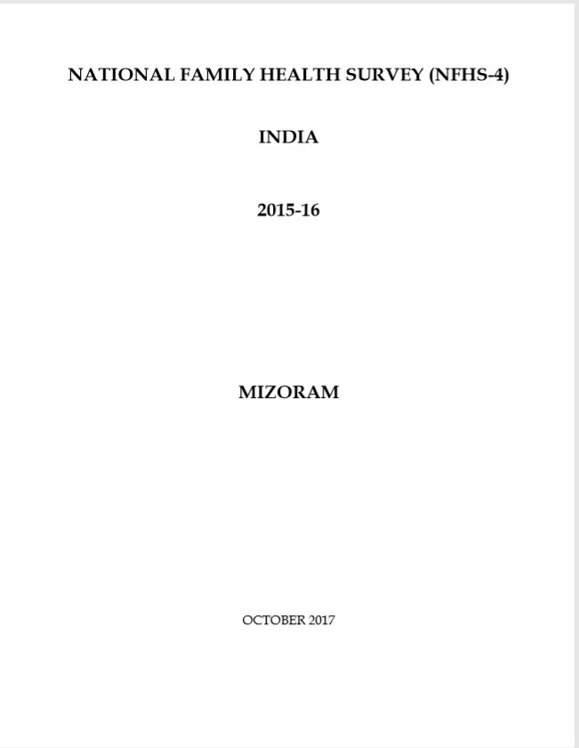 National Family Health Survey (NFHS-5) 2015-16: Mizoram