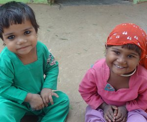 two kids smiling
