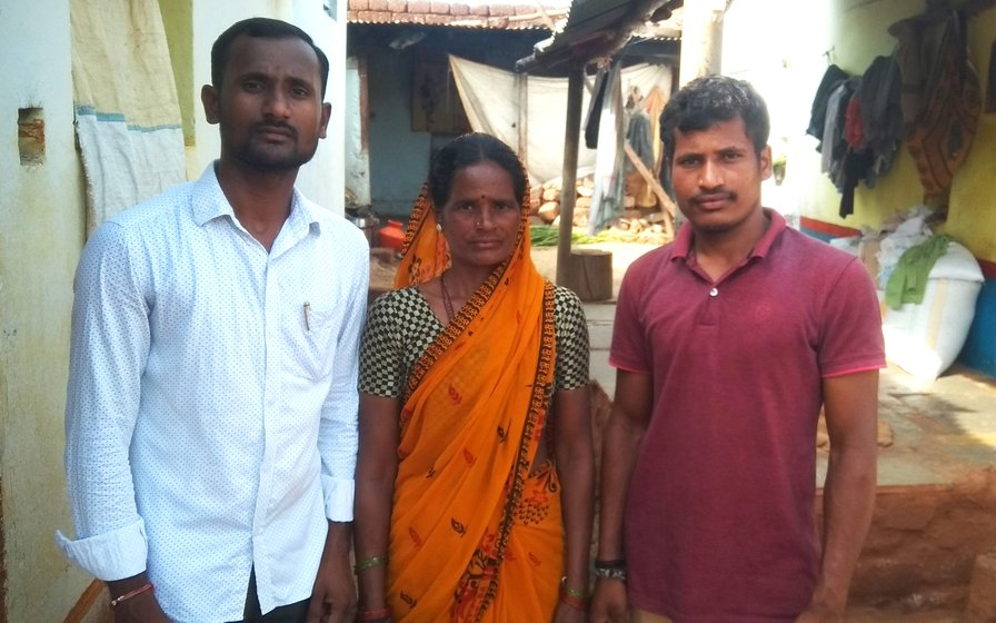 Earappa Bawge (left) with his mother Lalita and brother Rahul in Kamthana village (right) of Karnataka's Bidar district, where many sought work at MGNREGA sites during the lockdown