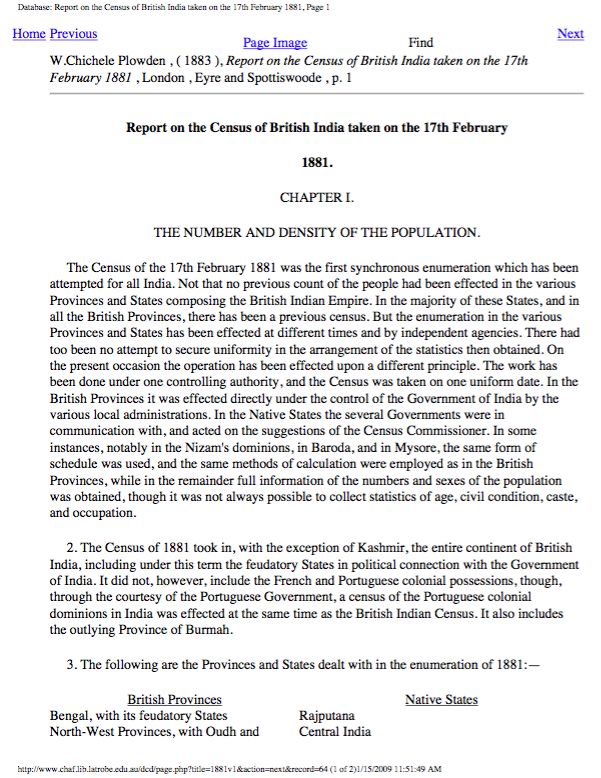 Report on the Census of British India taken on the 17th of February 1881: Vols. I-III