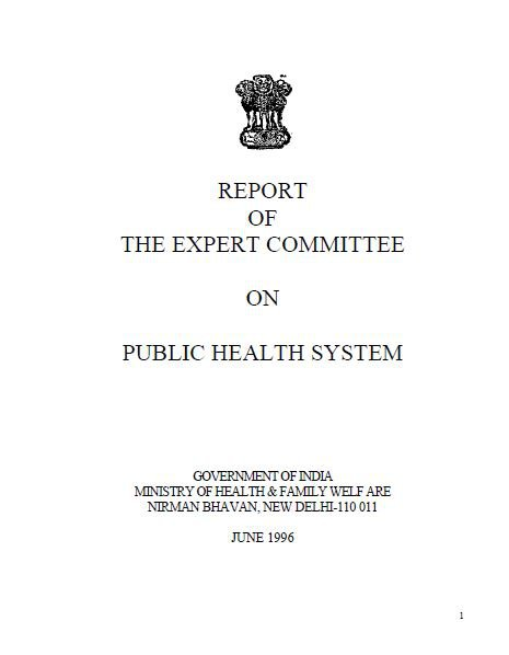 Report of the Expert Committee on Public Health System