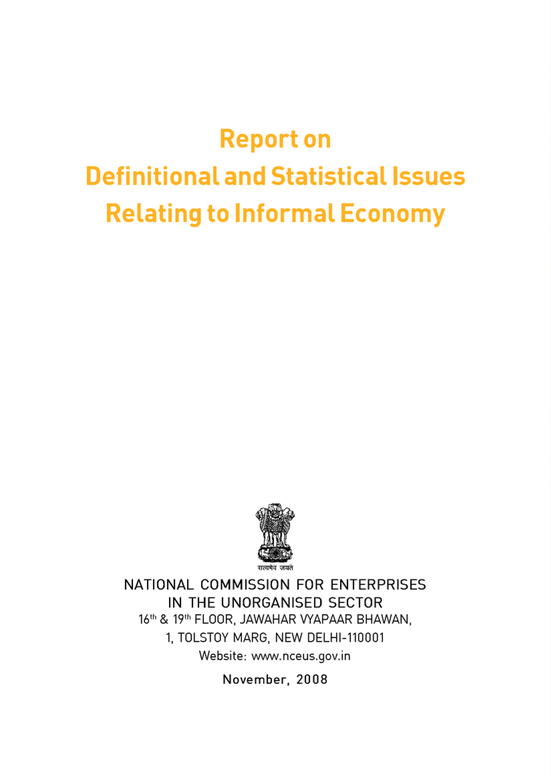 Report on Definitional and Statistical Issues Relating to Informal Economy