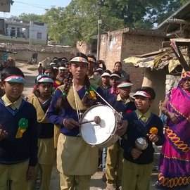 01-Bringing them to school, singing and drumming-SC-RepublicDay2016