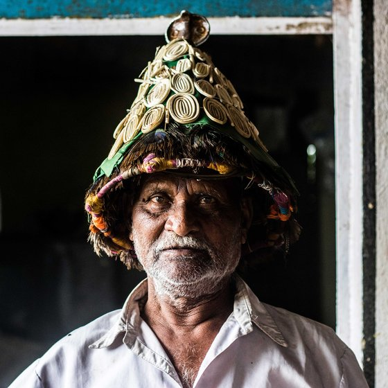 Gopal Vasudeo wears ceremonial headgear