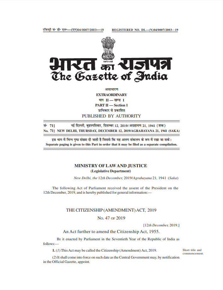 The Citizenship (Amendment) Act, 2019