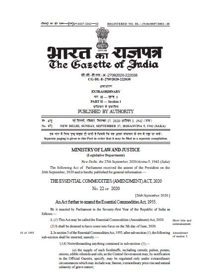 The Essential Commodities (Amendment) Act, 2020