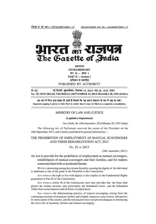 The Prohibition of Employment as Manual Scavengers and their Rehabilitation Act, 2013