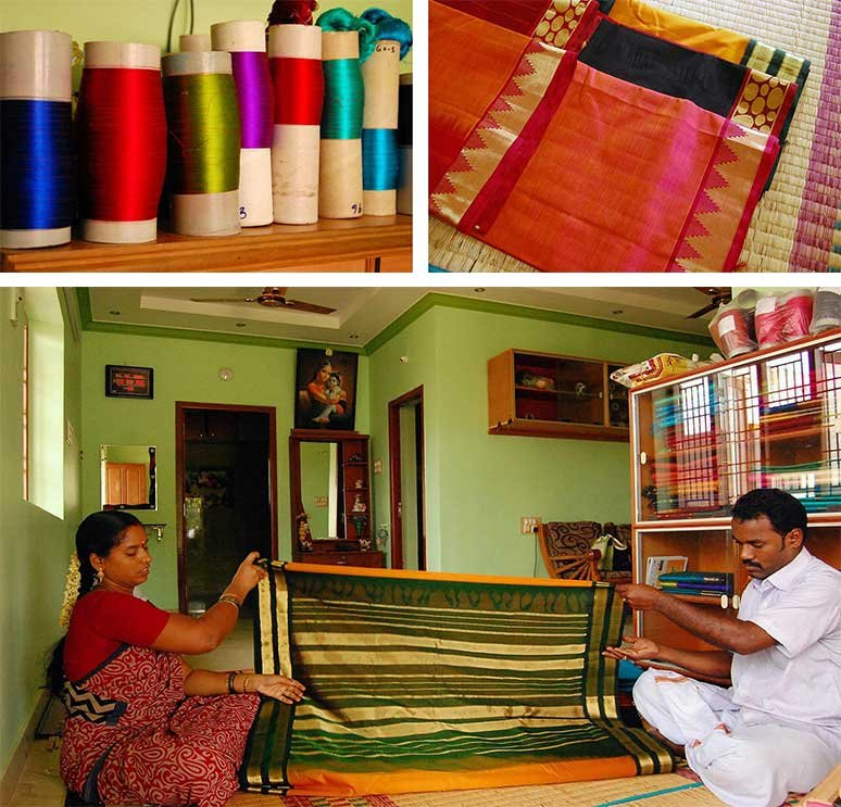 Top row: Silk thread (left) and silk-cotton sarees. Bottom: Master weaver Mohan (right) folds a new silk-cotton saree