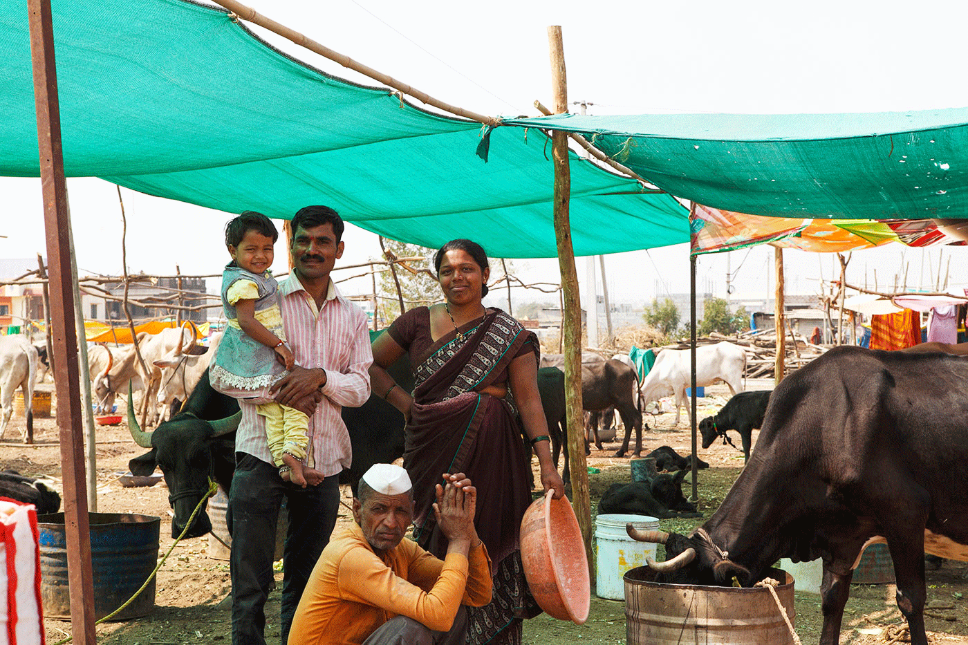 Sarika and Anil Sawant with their family at the cattle camp