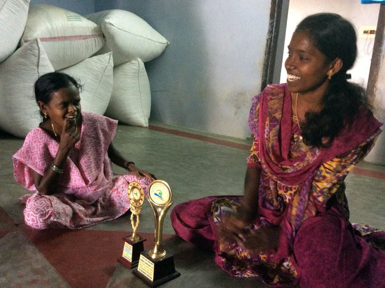 Right: Ambikapathi and Dhivya show me some of the awards they have won over the years