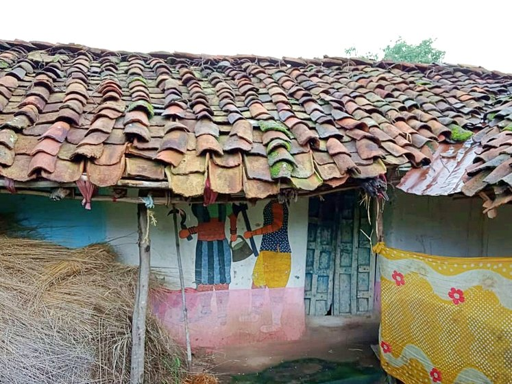 The wall art or bitti chitra on Gond houses in Patangarh illustrates their deities, myths and legends