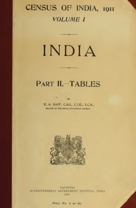 Census of India, 1911; Volume I; Part II – Tables