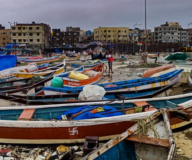 Photos taken by Dinesh Dhanga, a Versova Koliwada fisherman, on August 3, 2019, when boats were thrashed by big waves. The yellow-ish sand is the silt from the creek that fishermen dredge out during the monsoon months, so that boats can move more easily towards the sea. The silt settles on the creek floor because of the waste flowing into it from nallahs and sewage treatment facilities