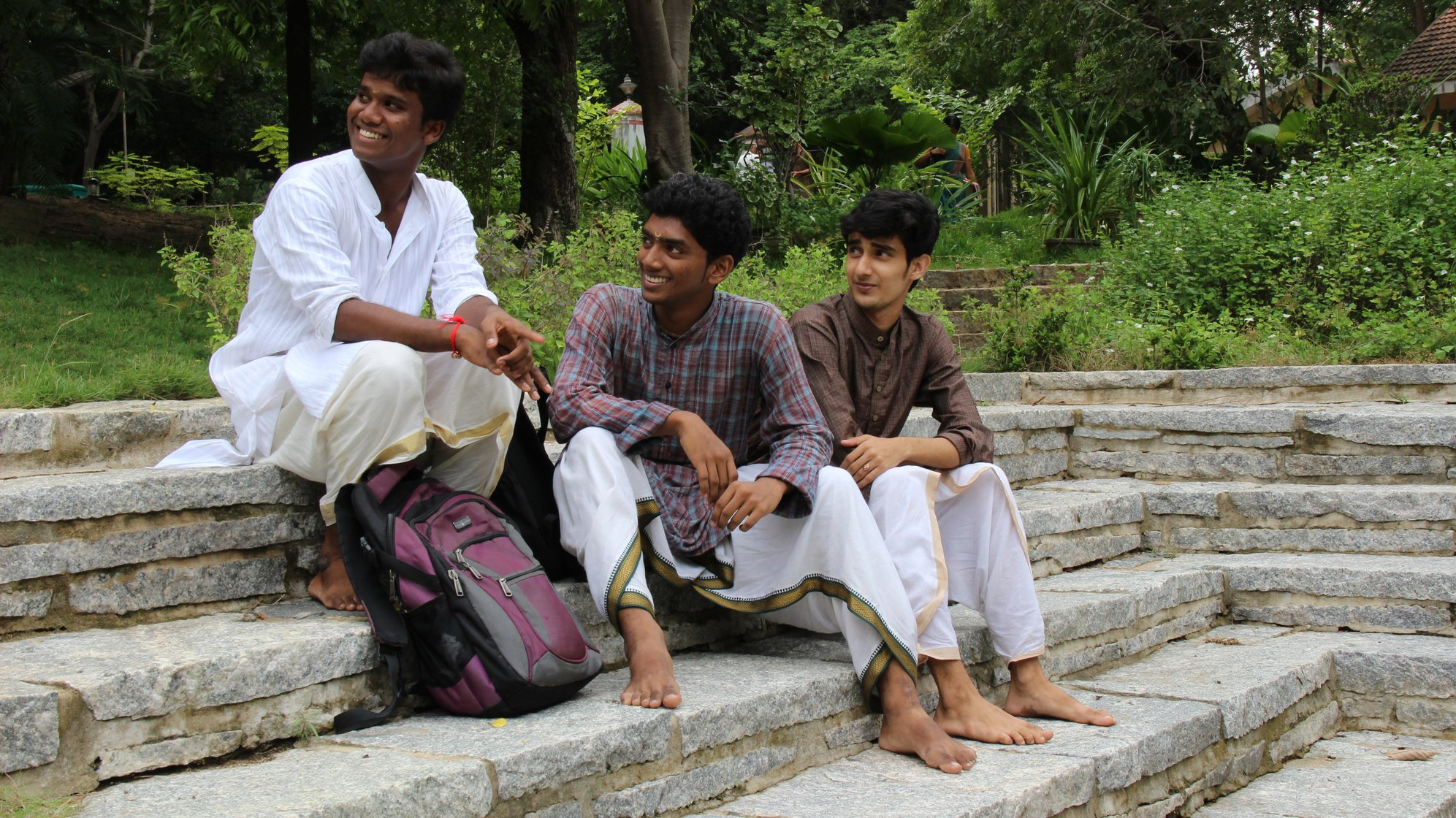 Between classes, Kali with his friends, at Kalakshetra's beautiful, green campus
