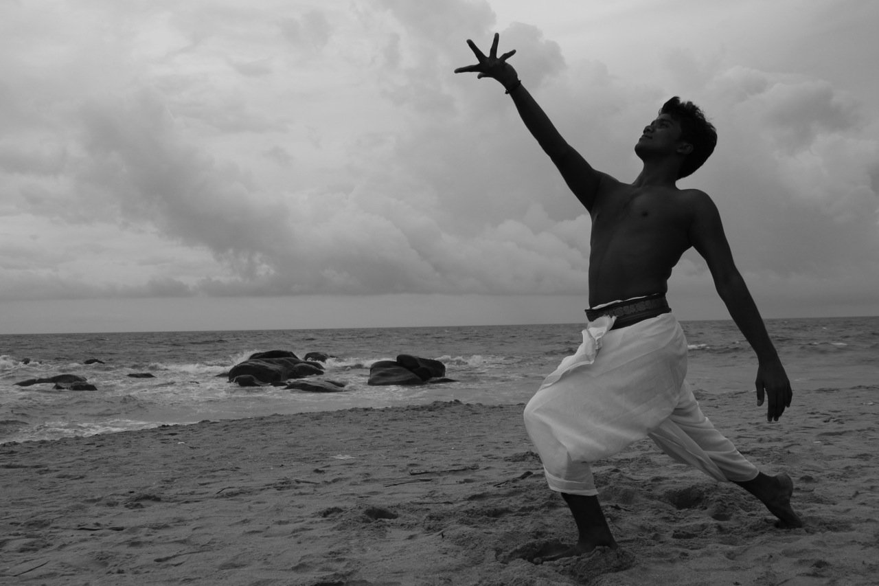 Kali Veerapadran dancing on the beach