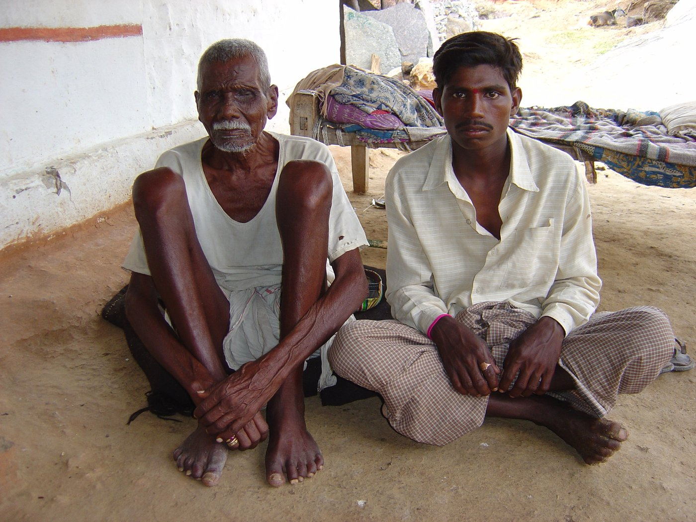 Kathulappa with his grandson Narasimhulu. No post-mortem examination was done when his son Chinna Saianna took his own life in December, 2003. They could not afford it