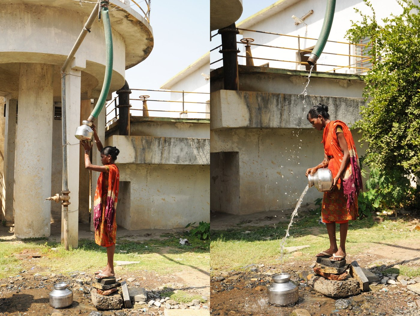 Two frames of women trying to fetch water