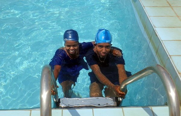 Right: The girls hope to travel to international waters and represent India in swimming events